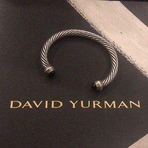 David Yurman 7mm Cable bracelet 925 & 14k & onyx